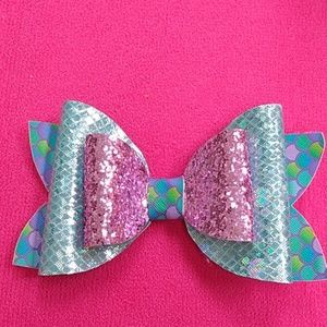 Handmade faux leather mermaid hairbow
